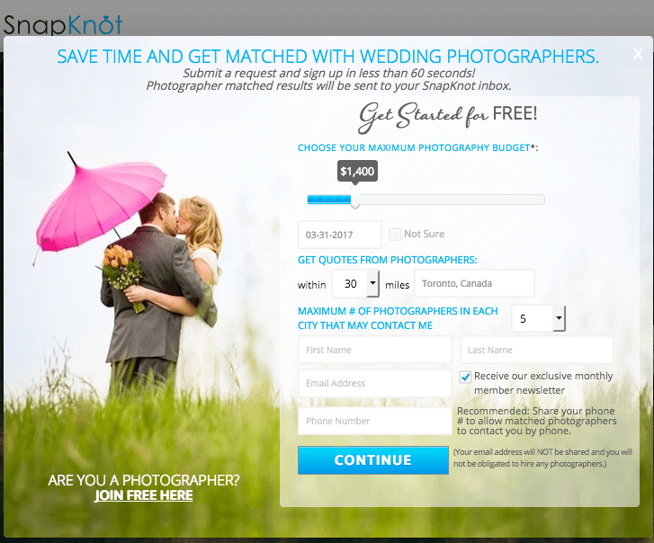 Find a cheap wedding photographer using a professional service that compares local photographers' prices and packages.