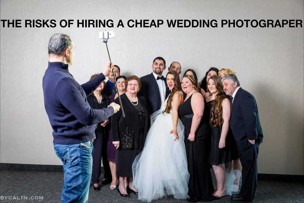 Cheap wedding photographer depicted taking a family portrait using a selfie stick and an iPhone.